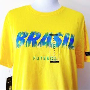 🆕 Nike Brasil Futbol Brazil Soccer T-Shirt Yellow